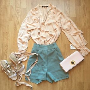 NWT Zara Nude Pink Blouse with Frills